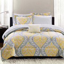 Mainstays 8-Piece Yellow Damask Bed in a Bag Bedding Set Bedroom, Twin/XL