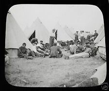 Glass Magic lantern slide CAMP LIFE - THE GAME OF HOUSE C1900 BOER WAR