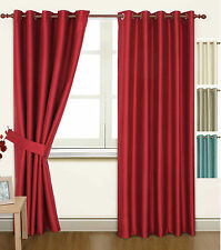 Cream Faux Silk 66x72 Thermal Lined Blackout Heavyweight Ring Top Curtains