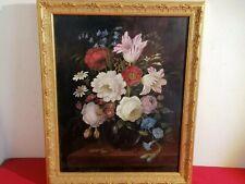 ancienne huile sur panneau d acajou - joli decor florale