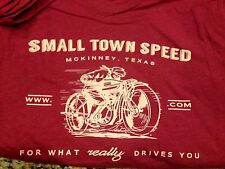 Small Cardinal RED heathered SMALL TOWN SPEED retro style motorcycle Tee. S