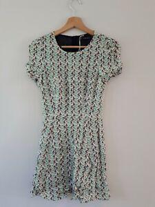 Zara Trafaluc Toucan Bird Print Summer Dress Green & Cream Size Medium 10-12