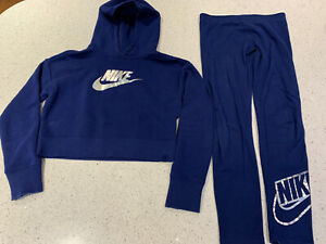 Girls Nike Blue Tracksuit Cropped Hoodie And Leggings Set Size 146-156cm