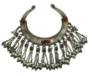 Afghan Kuchi Tribal Neck Collar Pendant Jewelry Boho Vintage Ethnic Dance Old