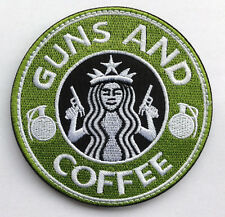 STARBUCKS GUNS & COFFEE TACTICAL USA ARMY MORALE BADGE US MILITARY GREEN PATCH