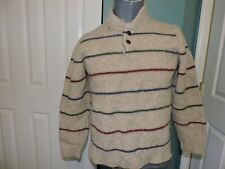 Mens LL Bean Lambs'Wool Striped Pullover Sweater Size M VGC