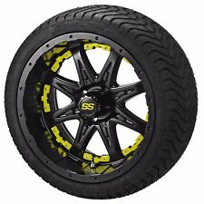 "4 Golf Cart 205/50-10 Tire on 10"" Matte Black Revenge Wheel W/Yellow Inserts"