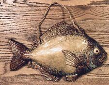 "Awesome 15"" Ceramic Fish Wall Hanging, Tan, Brown, Teal"