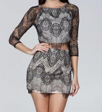 Ark Co Anthropologie Lace Crop Top Size S Black Two Piece Skirt Set Crewneck NEW