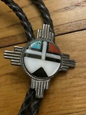 New ListingOld Native American Stone Inlay Sterling Silver Zia Sunface Kachina Bolo Tie