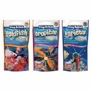 King British Treats Aquarium Fish Food Tropical Goldfish Variety 40g / 70 Treats