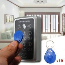 125KHz Door RFID ID Card Access Control Keypad Password Lock + 10 Key Fobs Tags