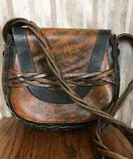 ViNtAgE 60's 70's Hand Tooled LEATHER Handbag Purse Bag HiPPiE BoHo Ships Free!