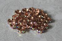 20 Strass Rondelle Rose Gold 8 mm Kristall AB Zwischenperlen Spacer