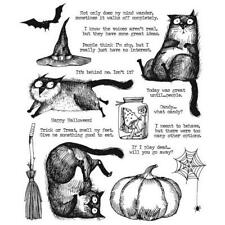 "Tim Holtz Stampers Anonymous ""Snarky Cat Halloween"" Rubber Cling Stamp Set 2020"