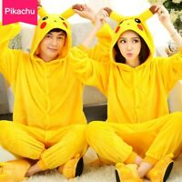 Yellow Unisex Adult Kids Sleepwear Pikachu Pajamas Pokemon Cosplay Costume Fancy