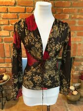 Vtg 90s Sheer Paisley Dolman Sleeve V Neck Bodice Body Hug Top Xs