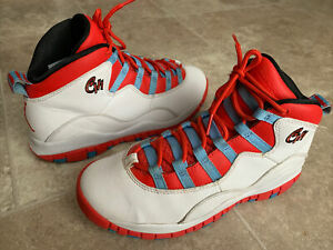 """Nike 310807-114 Air Jordan 10 Retro """"Chicago Flag"""" White Red Shoes Youth Size 5Y"""