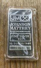 10 Oz Johnson Matthey Silver Bar Serial # 287518 In Sealed Plastic