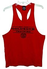 NEW Sz L GOLD'S GYM TRAINING Stringer Singlet Bodybuilding Shirt Red Cotton