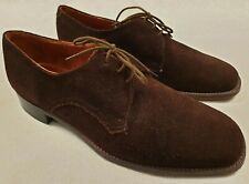 Vintage Clarks Brown Suede Formal 3 Eyelet Shoes UK Size 10 F Made in England
