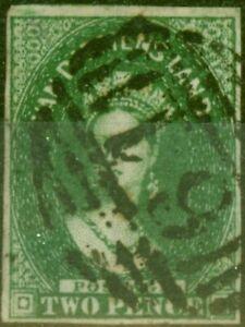 Tasmanie 1855 2d Vert Foncé SG15 Bon D'Occasion