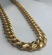 Sterling Silver 925 Yellow Gold Plated Big Miami Cuban Link Necklace 180 Gram