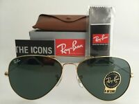 AUTHENTIC RAY-BAN AVIATOR RB3025 L0205 58MM GOLD FRAME GREEN LENS SUNGLASSES