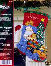"Bucilla Santa's Catnap ~ 18"" Felt Christmas Stocking Kit #86053 Cats, Kittens"
