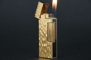 Dunhill Rollagas Lighter  Dome Gold plated Lacquer Black  Working #M94