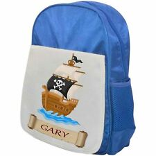 Personalised Childrens Pirate Backpack - Pirate Ship 2 - School Bag - Blue