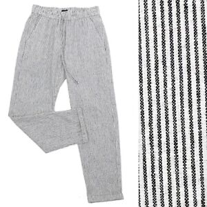 J Crew Striped Linen Cotton Drawstring Pant Striped Black & White Size 00 AY192