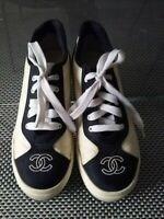 AUTHENTIC CHANEL VINTAGE CC LOGO LACE UP  SNEAKERS SHOES WHITE/BLACK NYLON  38
