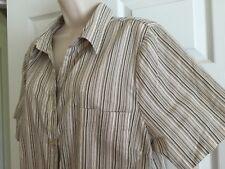 Ladies Cute Tan Striped Shirt Plus Size 1X White Stag