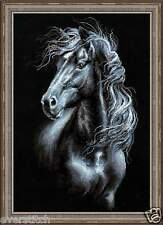"RIOLIS Cross stitch kit ""Breeze Through Mane"" art. #1494, black horse 30*45cm"