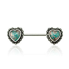 "316L Surgical Steel Synthetic Opal Antique Heart Nipple Bar 14G, 5/8""(16mm)-2pcs"