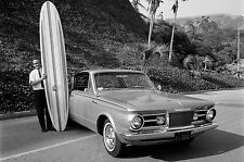 1965 Plymouth Barracuda with surf board press photo 8 x 10 Photograph