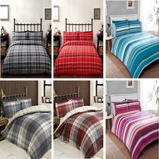 check tartan flannelette 100% brushed cotton quilt duvet cover bed set red blue