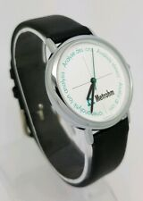 100% Authentic Mondaine Metrohm Swiss  Made Black Leather Strap Watch