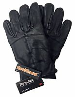 Mens Thinsulate Insulated Fleece Lined Winter Warm Black Thermal Leather Gloves