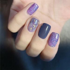24pcs false nails purple shell glitter full cover short fake fingernail art tips