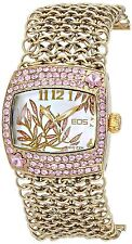 NEW EOS 95LGLDPNK Women's Empress Watch SS Gold Multi-Link Pink Crystal Accented
