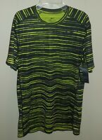 Nike Dry Dri-FIT Short Sleeve Shirt Black Yellow Striped Mens Medium 848061 New