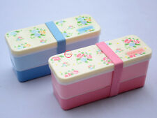 2 PCS Set Japanese Bento Lunch Box for Kids Girls Food Container Rose Flower