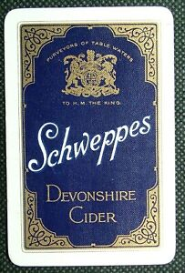 1 x Playing card single swap Schweppes Devonshire Cider 4 Clubs Y530
