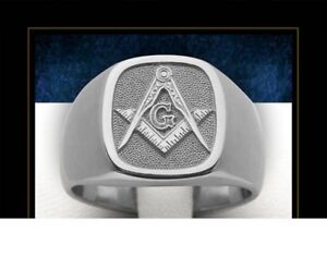 Hot Sale Mason Masonic No Stone Rhodium Plated Brass Men Custom Ring Size 12