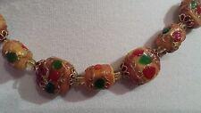 Vintage Venetian Murano foil hand blown art glass Italian disc beads necklace