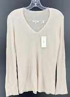 Vince Womens Ribbed Wool Blend Pale Pink V Neck Sweater Size XS NWT