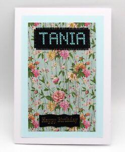 Birthday Card - unique handmade cross stitch - Name Tania