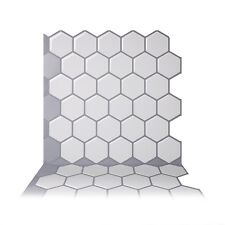 Tic Tac Tiles® - Premium 3D Peel & Stick Wall Tile in Hexa Mono White(10 sheets)